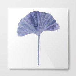 Blue Ginko Leaf - Minimalist Nature Metal Print