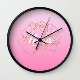 Nora Pink Rose Gold Peony Wall Clock