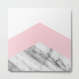 Blush pink black white geometric vintage marble Metal Print