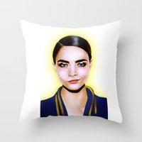 cara delevingne Throw Pillows featuring Cara Delevingne by BeckiBoos