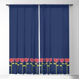 Red Flowers On Dark Blue Blackout Curtain