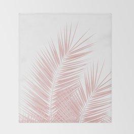 Blush Pink Palm Leaves Dream - Cali Summer Vibes #1 #tropical #decor #art #society6 Throw Blanket