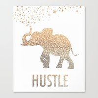 hustle Canvas Prints featuring HUSTLE  by BUT FIRST COFFEE