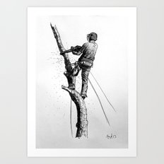 Arborist Tree Surgeon Using Stihl Chainsaw o20T  Art Print