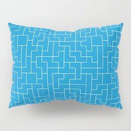 White Tetris Pattern on Blue Pillow Sham