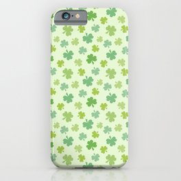 Happy St. Patrick's Day Shamrock Pattern on light green iPhone Case