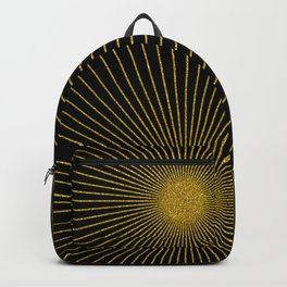 Black and gold glitter sun rays, gold glitter abstract geometry Backpack