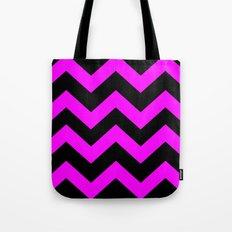 Black & Pink Chevron Lines  Tote Bag