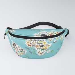 Cartoon animal world map for children and kids, Animals from all over the world Fanny Pack
