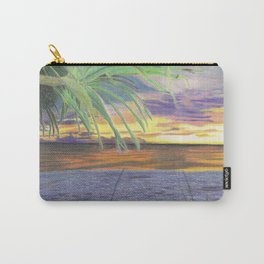 Sunset With Palm Tree Carry-All Pouch