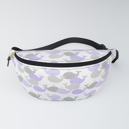 Whales Nautical Purple Lavender Gray Fanny Pack