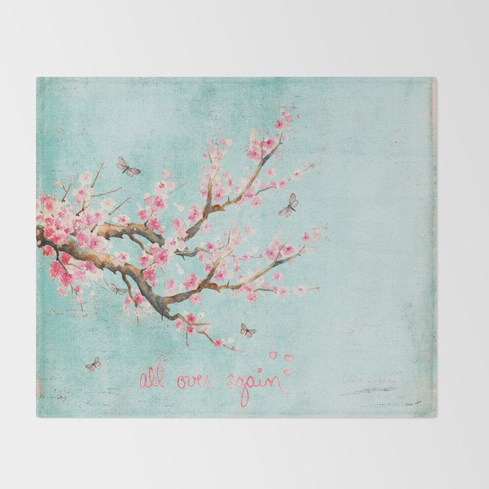 fe88f0a84 Its All Over Again - Romantic Spring Cherry Blossom Butterfly Illustration  on Teal Watercolor Throw Blanket