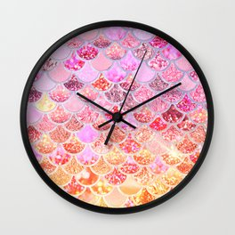 Rosegold & Gold Trendy Glitter Mermaid Scales Wall Clock