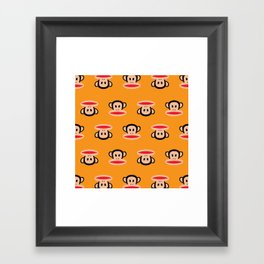Julius Monkey Pattern by Paul Frank - Orange Framed Art Print