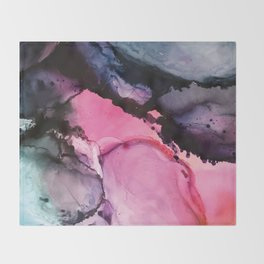 Pink and Navy Alcohol Ink Painting Throw Blanket