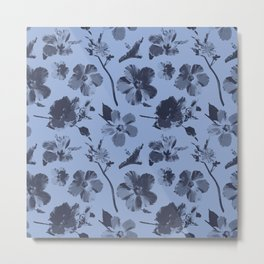 Aloha Flowers on Serenity Blue Metal Print