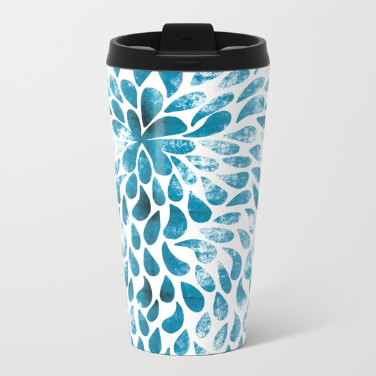 CUT OUT TEAR DROP PATTERN / INDIAN INK Metal Travel Mug
