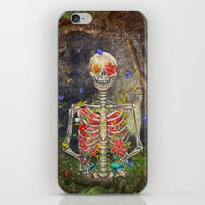 Blooming skeleton in the dark forest  with butterflies iPhone Skin