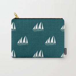 White Sailboat Pattern on teal blue background Carry-All Pouch