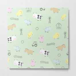 Cute Little Farm Animals Metal Print