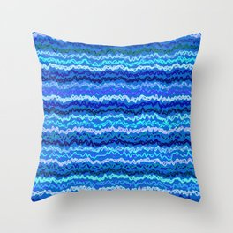 Scribbled Stripes in Ocean Blues Throw Pillow