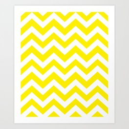 Canary yellow - yellow color - Zigzag Chevron Pattern Art Print