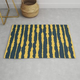 Macrame Stripes in Mustard Yellow and Navy Blue Rug