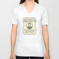 sherlock holmes V-neck T-shirts featuring Sherlock Holmes by SuperEdu
