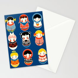Babushka dolls vibrant pattern Stationery Cards