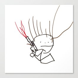 Charming space hero with laser pistol. Canvas Print