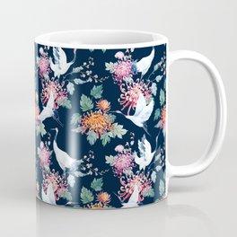Vintage Japanese crane birds illustration pattern Coffee Mug