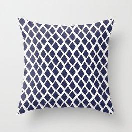 Rhombus Blue And White Throw Pillow