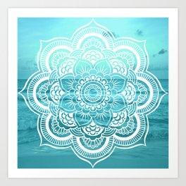 Mandala : Aqua Sunset Waters Art Print