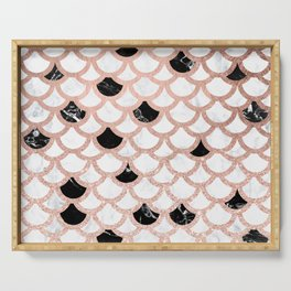 Girly rose gold black white marble mermaid scallop pattern Serving Tray