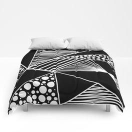Black white geometric trendy artistic stripes polka dots Comforters