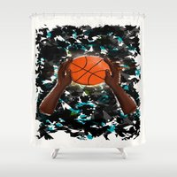 basketball Shower Curtains featuring  BasketBall  by Marven RELOADED