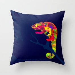 Paper Craft Chameleon Throw Pillow