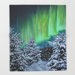 Northern Lights, Algonquin Park Throw Blanket