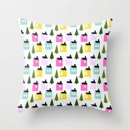 Happy houses Throw Pillow