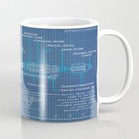 blueprint Mugs featuring Riversong Screwdriver Blueprint by JackEmmett