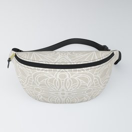 White Lace Mandala on Antique Ivory Linen Background Fanny Pack