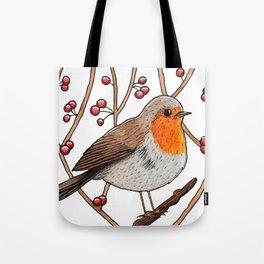 Christmas winter robin Tote Bag