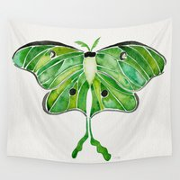 moth Wall Tapestries featuring Luna Moth by Cat Coquillette