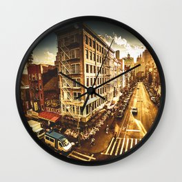 chinatown in nyc at dusk Wall Clock