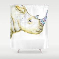 Striped Rhino Illustration Shower Curtain