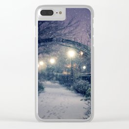 Winter Garden in the Snow Clear iPhone Case