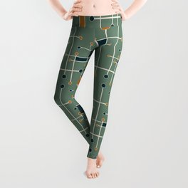 Intersecting Lines in Olive, Blue-green and Orange Leggings