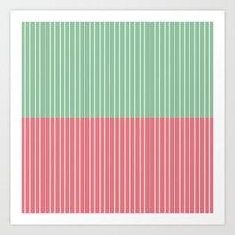 Color Block Lines VI Pink & Green Art Print