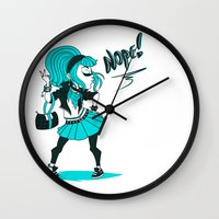 nope Wall Clocks featuring Nope! by roryseviltwin