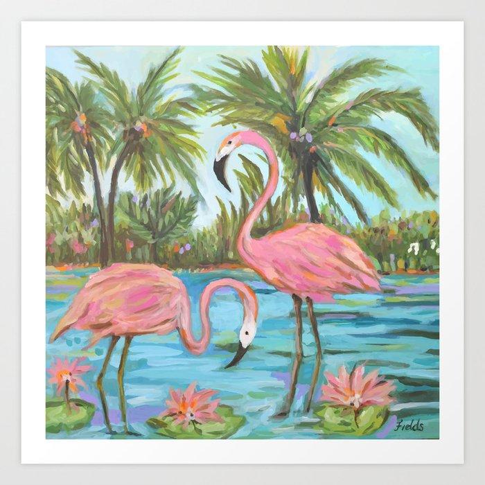 Pink Flamingos Kunstdrucke